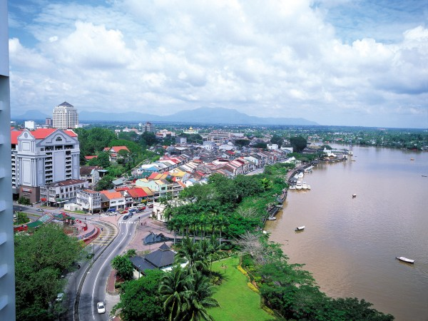 View of river and city of Kuching