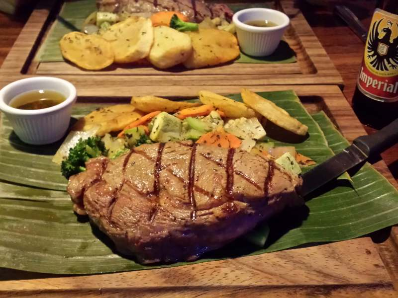 Large steak at local restaurant
