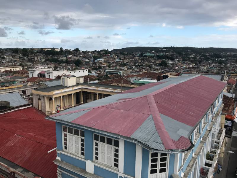Birds eye view of old colourful buildings
