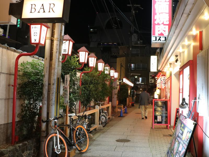 bikes parked outside local Japanese bar