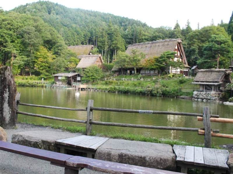 Takayama folk village with river running through