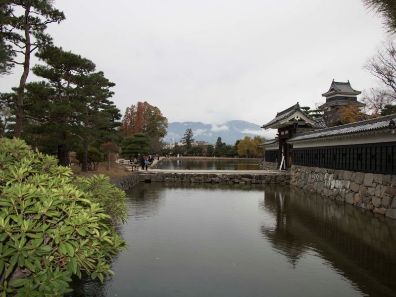 Pond separating temple and road
