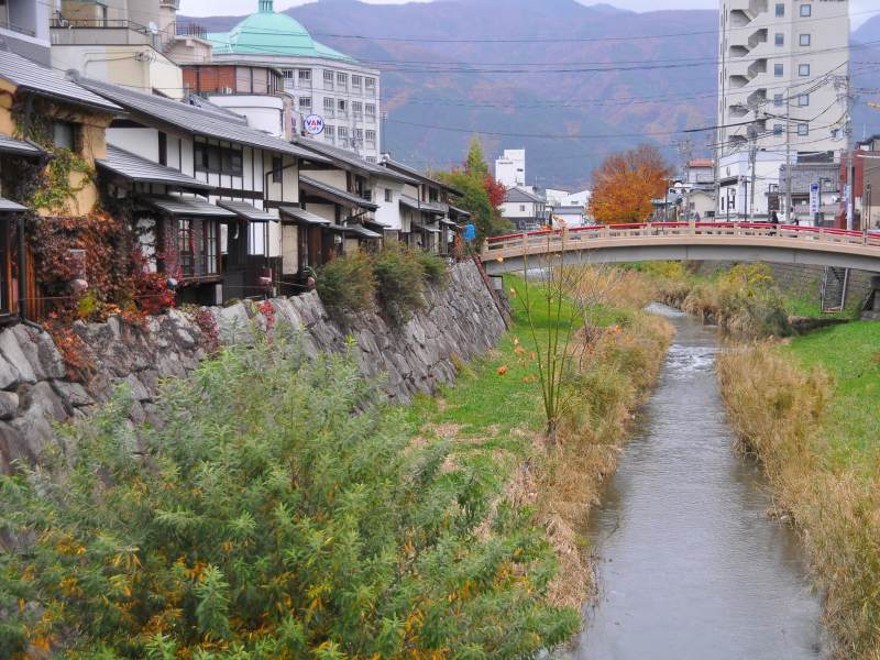 Grassy road with bridge to cross and Japanese buildings