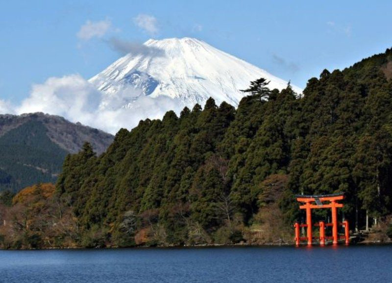 Snow topped mountain with Japanese red temple
