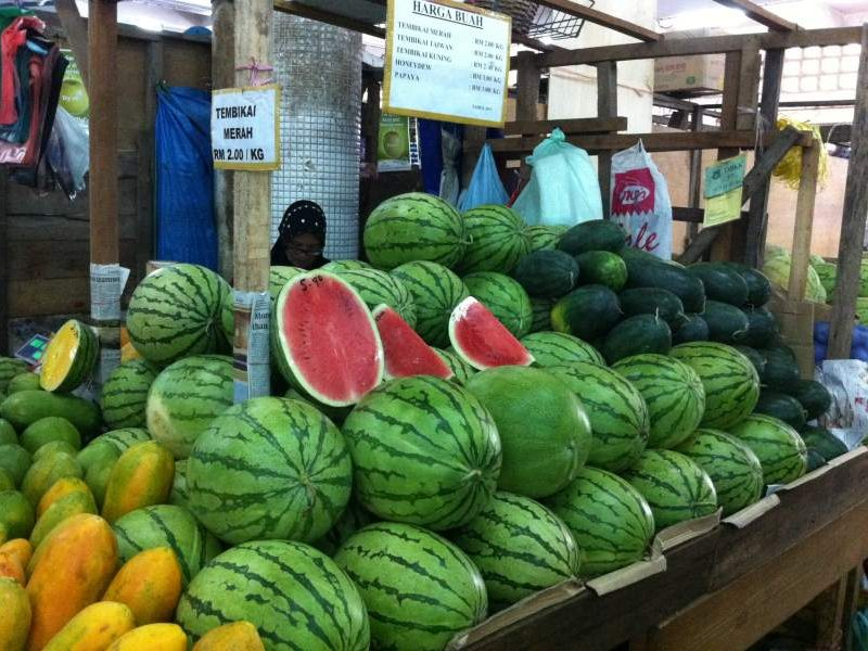 Watermelons on sale at market in Kota Kinabalu Borneo