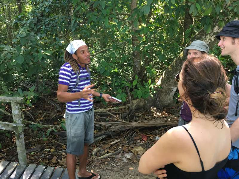 Guide talking to jungle trekkers
