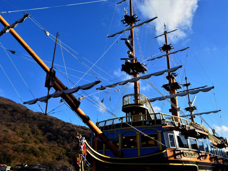 Pirate ship boat with blue sky