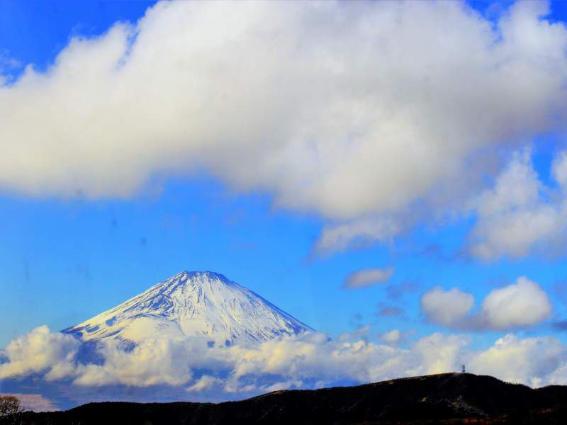 Mount Fuji with blue sky and clouds behind