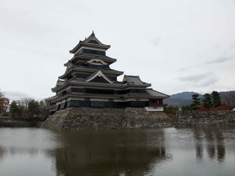 Large Japanese castle on river