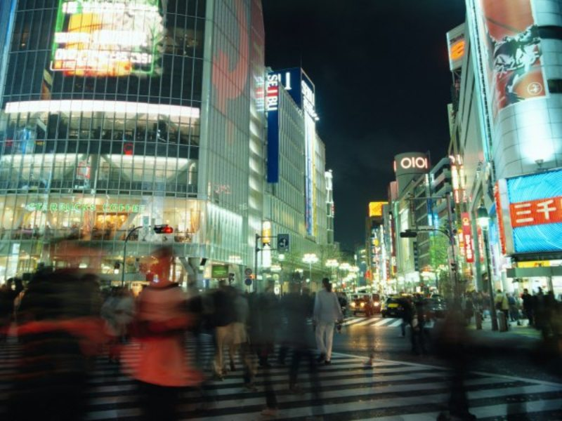 Tokyo at night with bright lights