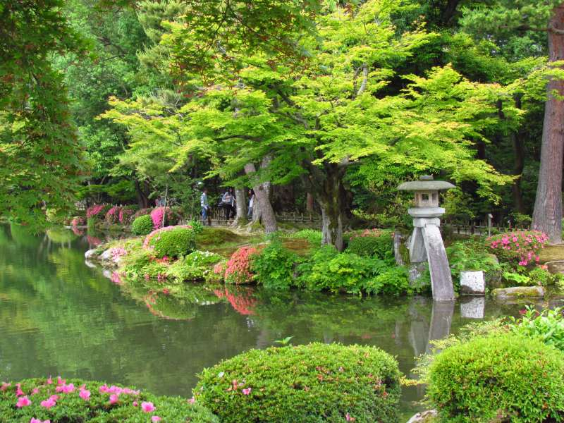 traditional Japanese garden with lake
