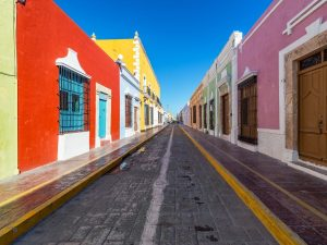 Colorful empty colonial street in the historic centre