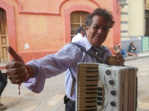 local musician with accordion in san cristobal