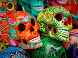 colourful sugar skulls