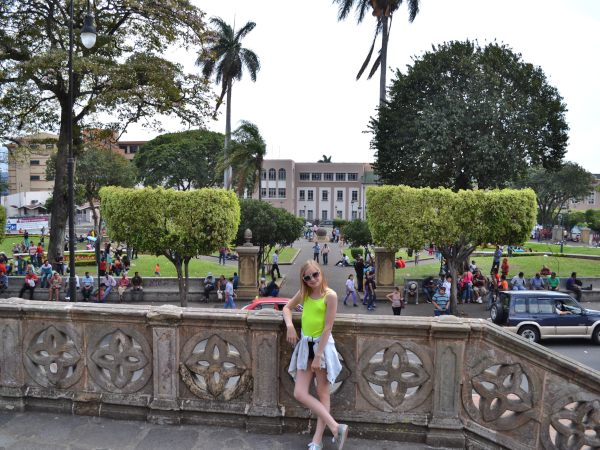 Girl infront of San Jose buildings