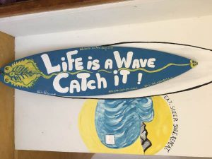 Surf Board with writing
