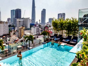 rooftop swimming pool at grand silverland hotel in ho chi minh city