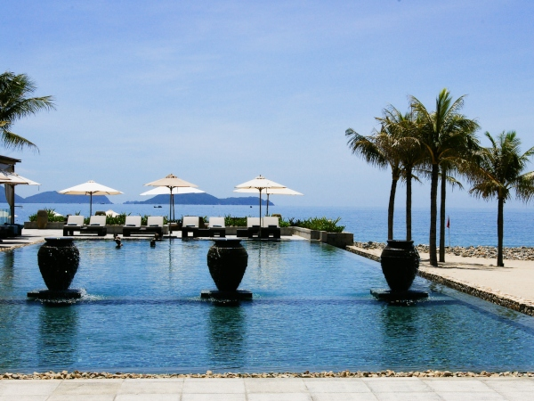 swimming pool on the beach at nha trang