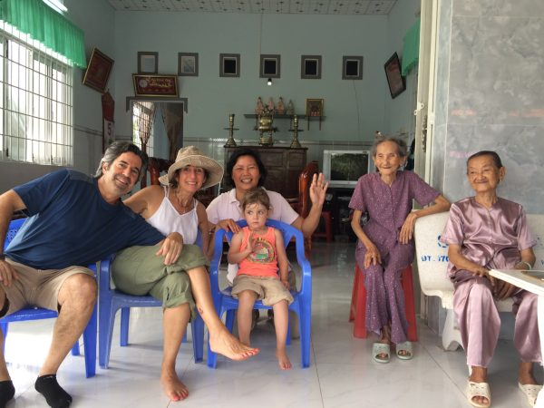 Family staying in local homestay with local family