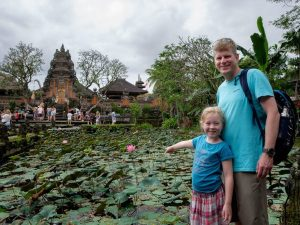 Family standing infront of Ubud Water Palace