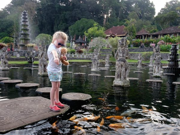 Feeding the Koi at Tirta Gangga