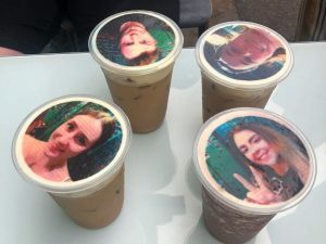 Selfie coffee with four people