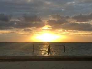Lovely sunset on the beach at Caye Caulker