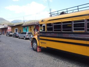 Yellow school bus in Antigua