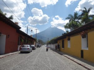 Volcano view from the city in Guatemala