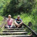 Sitting on the train tracks