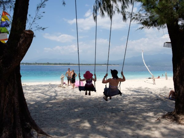 family on beach swing