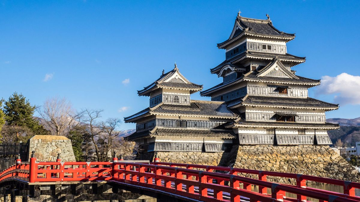 Japanese castle with red gated bridge