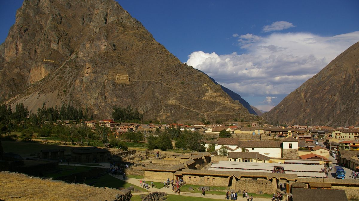 Above view of Ollantaytambo, Peru.