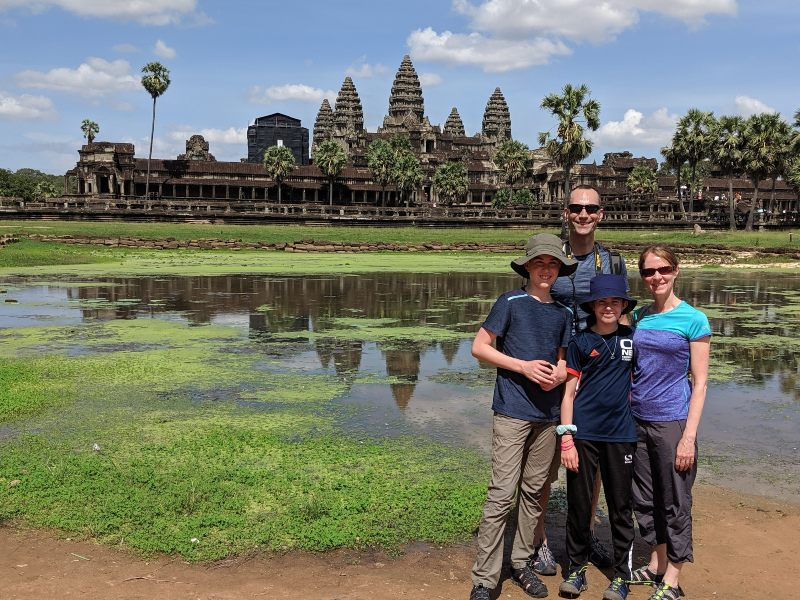 Family standing outside Angkor Watt