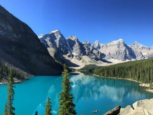 lake and mountain in banff, canada