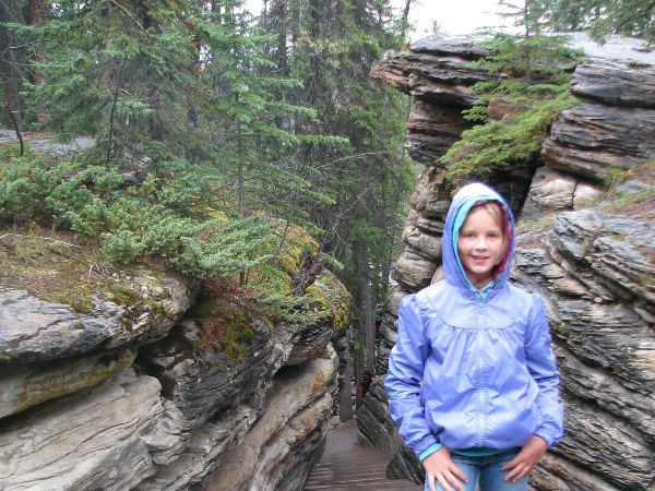 Child at canyon in Jasper, Canada