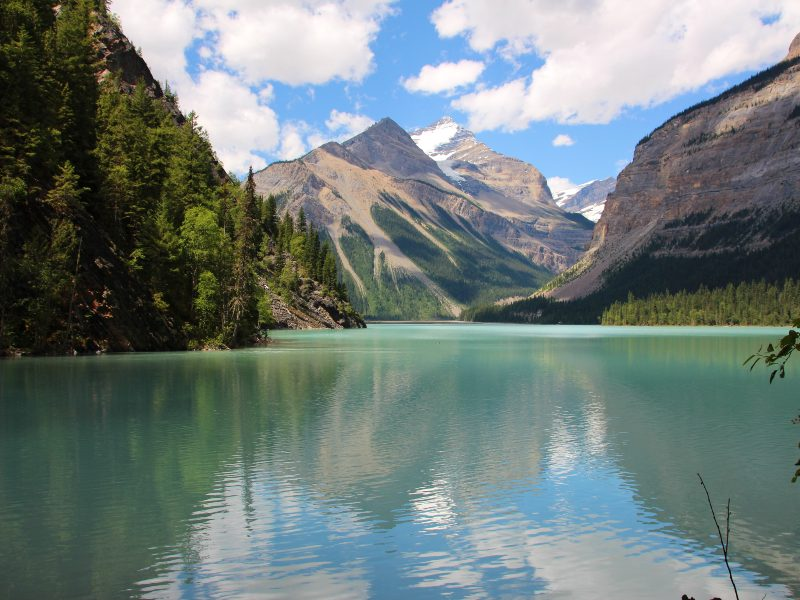 view of mount robson and lake in canada