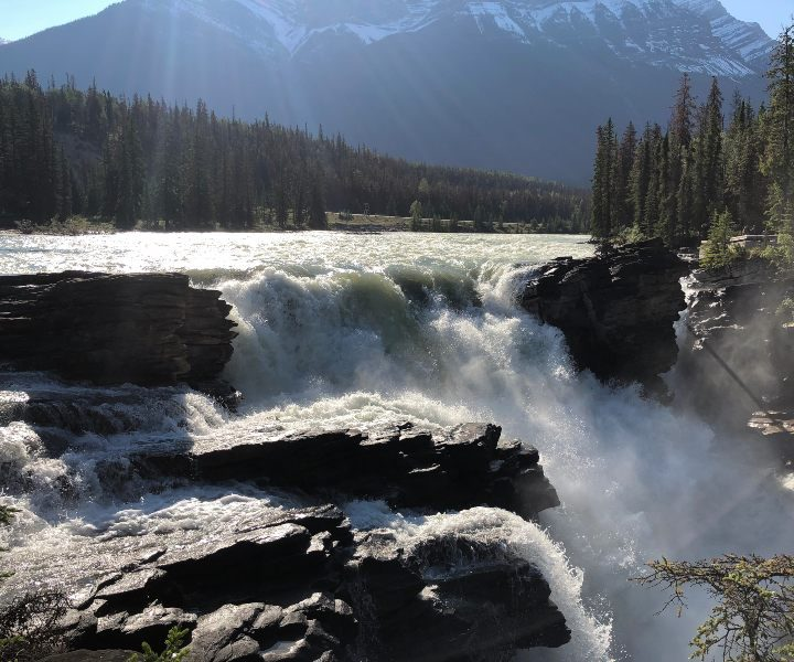 Canada-Rockies-Icefields-Parkway-Athabasca-Falls-sunshine