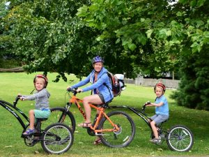 Family on a bike ride