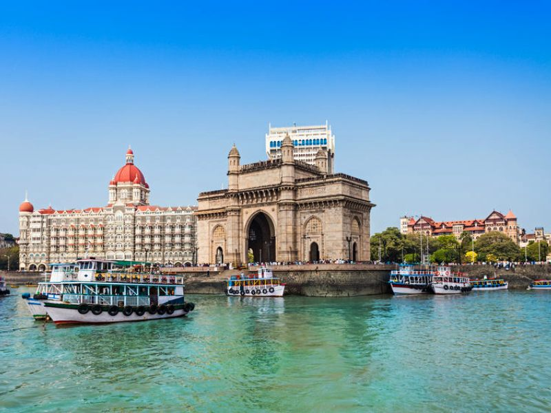 The Gateway of India and boats as seen from the Mumbai Harbour in Mumbai,