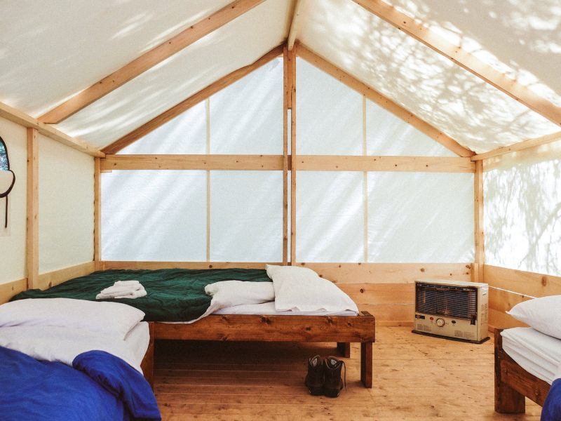 Inside tent with beds