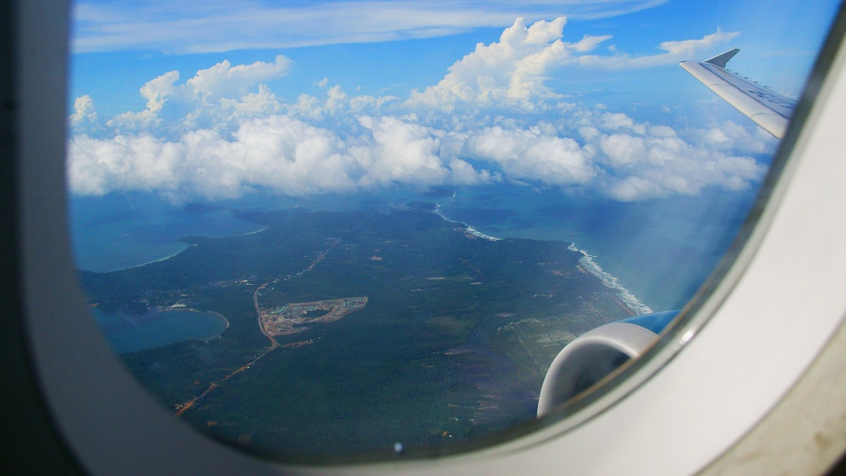 view from aeroplane over phu quoc island
