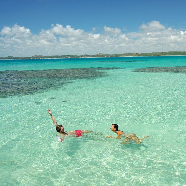 couple swimming in clear blue sea