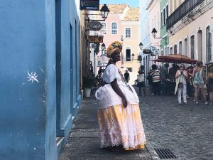 Local woman in a traditional outfit in Salvador