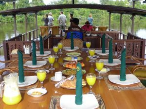 Dining area and the viewing deck on the klotok during the Kalimantan Cruise, Indonesia