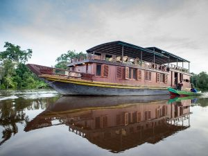 Traditional Klotok Boat in Palangkaraya, Kalimantan, Indonesia