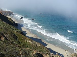 Monterey beach with ocean and sand