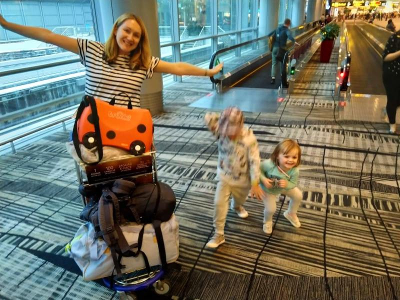 hazel and her family at the airport