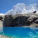 blue lakes and snowy mountain at huascaran national park