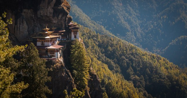 Bhutan, Tiger's Nest monastery on mountainside
